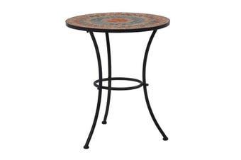 Mosaic Bistro Table Orange Grey 60Cm Ceramic
