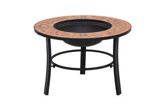 Mosaic Fire Pit 68Cm Ceramic - Blue and white