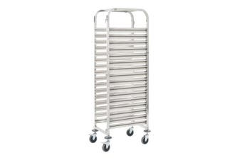 Kitchen Trolley For 16 Trays Stainless Steel