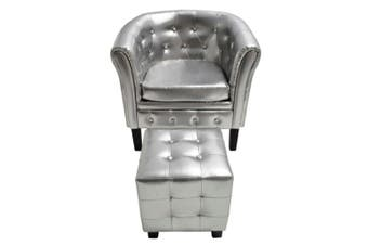 Tub Chair With Foot Stool Artificial Leather - Silver