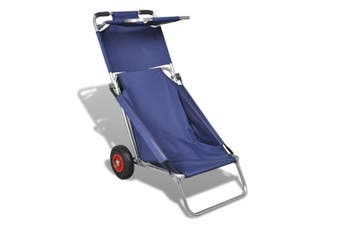 3-In-1 Portable Beach Trolley, Chair And Table - Blue