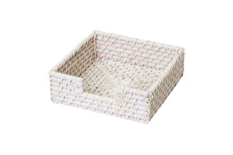 Pacifica Rattan Napkin Holder Square 18cm White Wash