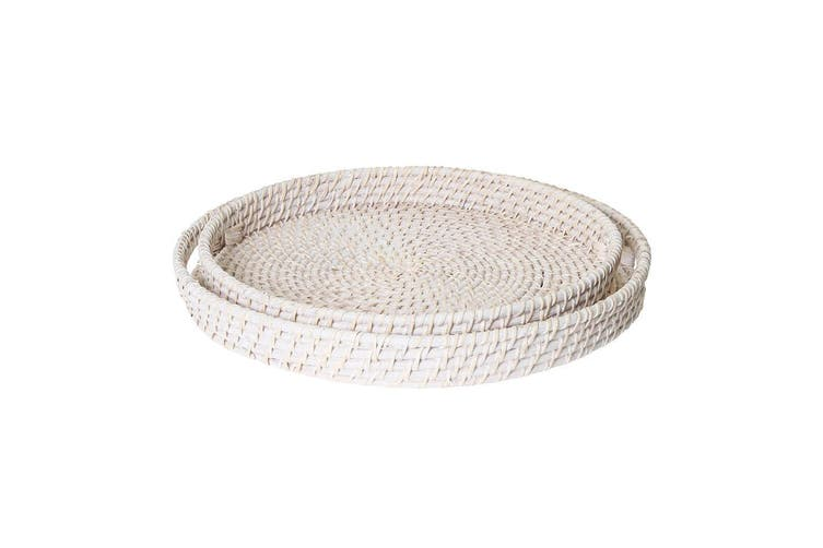 Rattan Set of 2 Trays Large: 45x8cm , Medium: 40x6cm White Wash