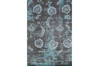AquaSilk Grey Blue Floral Pattern Rug - 250x350