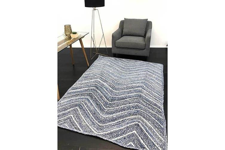 Artisan Natural Chevron Denim Rug - 150x220cm
