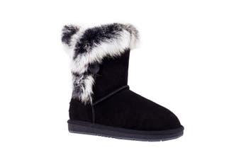 UGG Mid Button Fur Women's Sheepskin Boots Fame Black
