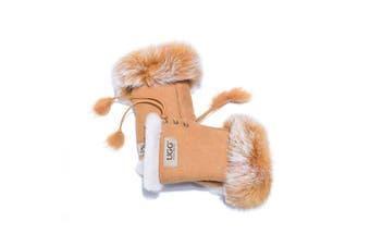 UGG Fingerless Sheepskin Leather Gloves Chestnut Womens (Cindy)