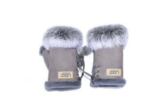 UGG Fingerless Sheepskin Leather Gloves Grey Womens (Cindy)