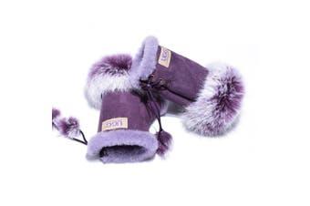 UGG Fingerless Sheepskin Leather Gloves Purple Womens (Cindy)