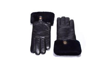 UGG Australian Sheepskin Leather Gloves Black Womens (Chloe)