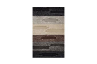 Flat And Cut Pile Boho Taupe Wool Rug
