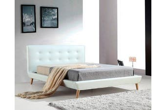 Palermo PU Leather Bed Frame and Button Tufted Headboard - White