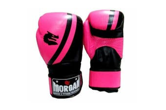 Morgan V2 Professional Leather Boxing Gloves Fluro Pink Black