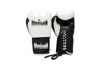 Morgan Lace Up Leather Fight Night Boxing Gloves White