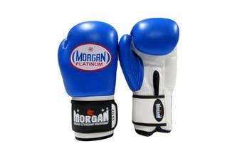 Morgan V2 Platinum Leather Sparring Gloves Blue