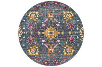Babylon Round Blue Yellow Floral Rug - 150X150CM