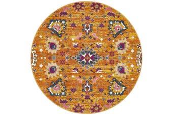 Babylon Round Yellow Floral Rug - 150X150CM