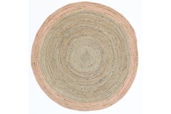 Capri Natural Round Pink Boarder Rug - 150x150cm