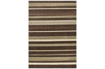 City Stylish Stripe Brown Beige Rug - 220X150CM