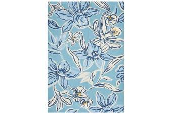 Copacabana Whimsical Blue Floral Indoor Outdoor Rug - 280X190CM