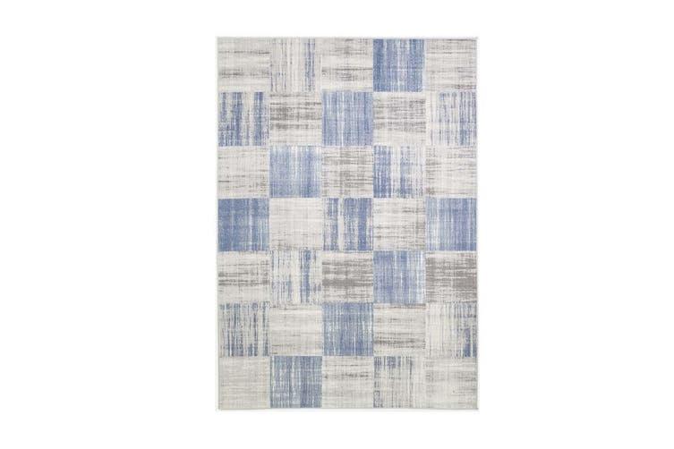 Courtyard Squares Blue Rug - 240x330 cm