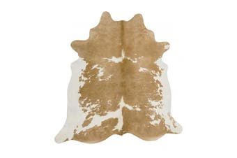 Exquisite Natural Cow Hide Beige White Rug - 170x120cm