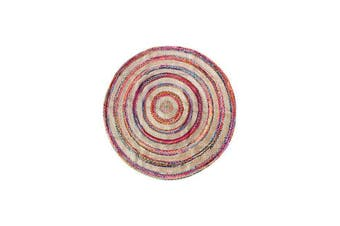 Chindi Stripe Indian Design Recycled Floor Rug Round Large