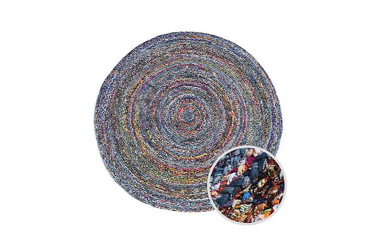 Memphis Chindi Indian Design Recycled Floor Rug Multicolour