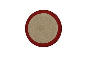 Dot Border Firebox Red Round Rug - 100cm Round