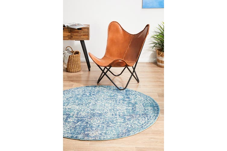 Evoke Round Muse Blue Transitional Rug - 240X240CM