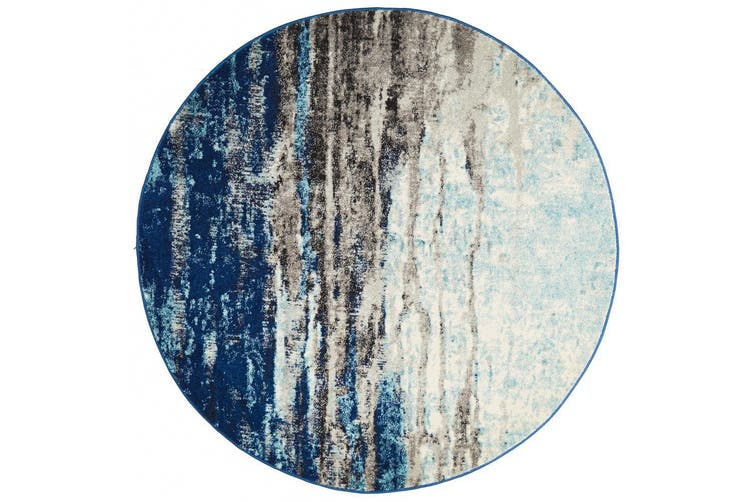 Evoke Round Transpose Blue Transitional Rug - 150X150CM