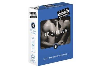 Four Seasons Regular Condoms - Regular Fit Lubricated Condoms - 6 Pack