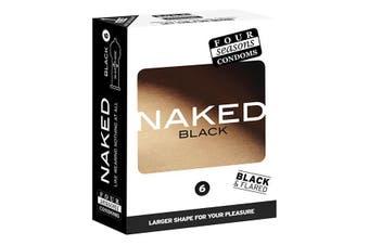 Four Seasons Naked Black - Ultra Thin Black Condoms - 6 Pack