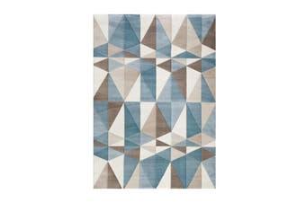 Fruzan White Dark Blue Geometric Rug 80 X 300 Cm