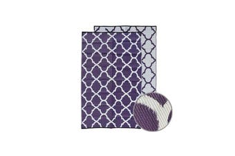 Moroccan Recycled Plastic Mat Aubergine And White