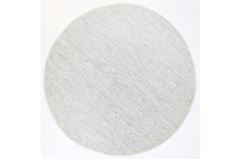 Metro Modern Round White Leather Rug - 160x160cm