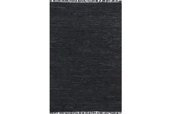 Metro Modern Leather Black Rug - 230x320cm
