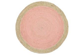 Hampton Center Jute Round Pink Rug - 150x150cm