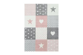 Nova Stars & Hearts Pink Grey Rug - 120x170cm