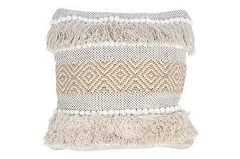 Cotton Jute Cushion Cover Diamond Stripe
