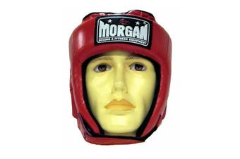 Morgan Platinum Open Face Leather Head Guard Red