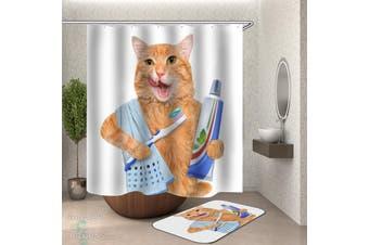 Cat Brushing Its Teeth Shower Curtain