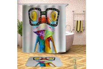 Colorful Hipster Frog Shower Curtain