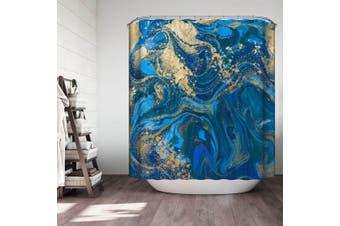 Golden Blue Marble Shower Curtain