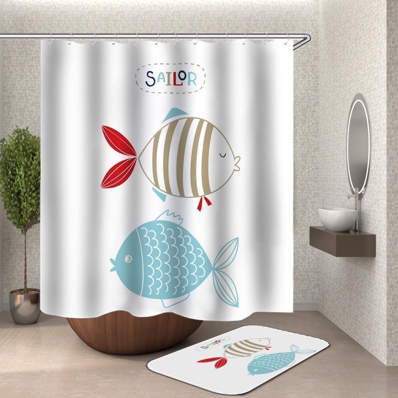 Sailor Fish Shower Curtain 75cm 45cm Bath Mat Only Matt Blatt
