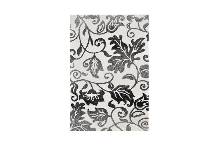 Dakar White Floral Pattern Shag Rug - 120x170cm