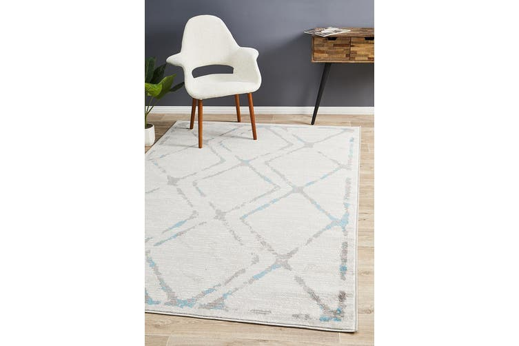 Kendall Contemporary Diamond Grey Blue Rug - 330X240CM