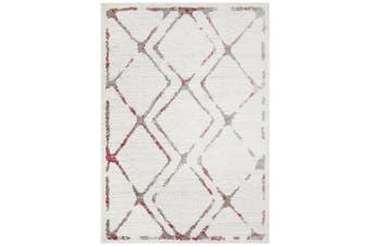 Kendall Contemporary Diamond White Pink Grey Rug - 230X160CM