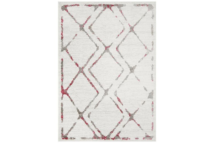 Kendall Contemporary Diamond White Pink Grey Rug - 290X200CM