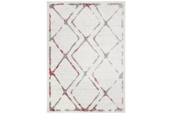 Kendall Contemporary Diamond White Pink Grey Rug - 330X240CM